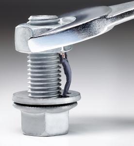 Man in screw